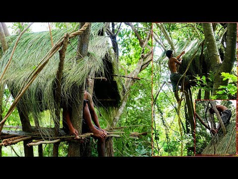 Thumbnail: Primitive Technology, Make a thatched roof huts on the tree