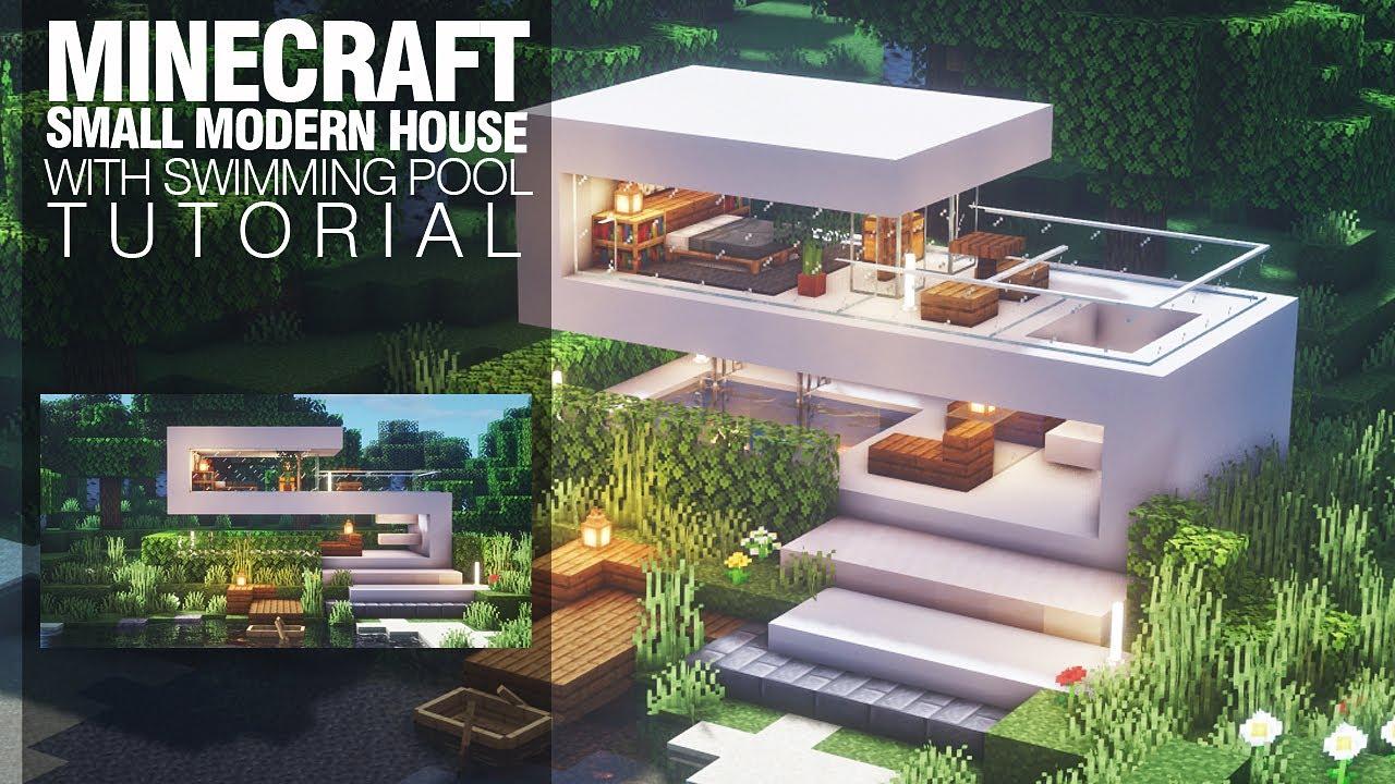 Minecraft Tutorial : Small Modern House : Modern Minimalist : With Swimming  Pool