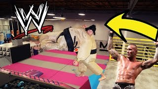 WWE FINISHING MOVES IN A SUMO SUIT!!!!