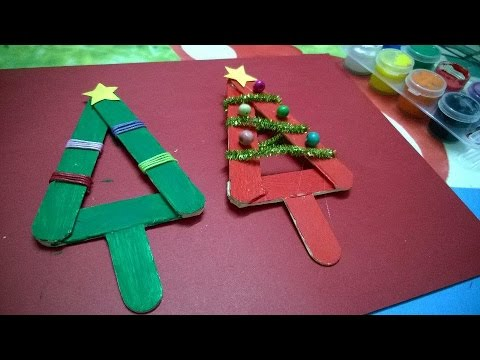 DIY Crafts  Popsicle Stick Christmas Tree Ornament For Kid  YouTube
