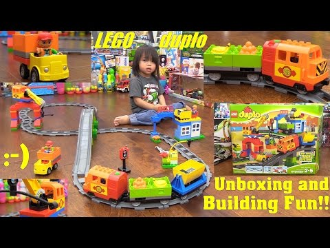 Toy Review: Kids' Toy Train! LEGO DUPLO Track System Train Set Unboxing, Building and Playtime