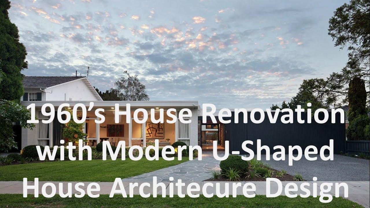 1960s house renovation with modern u shaped house architecure design