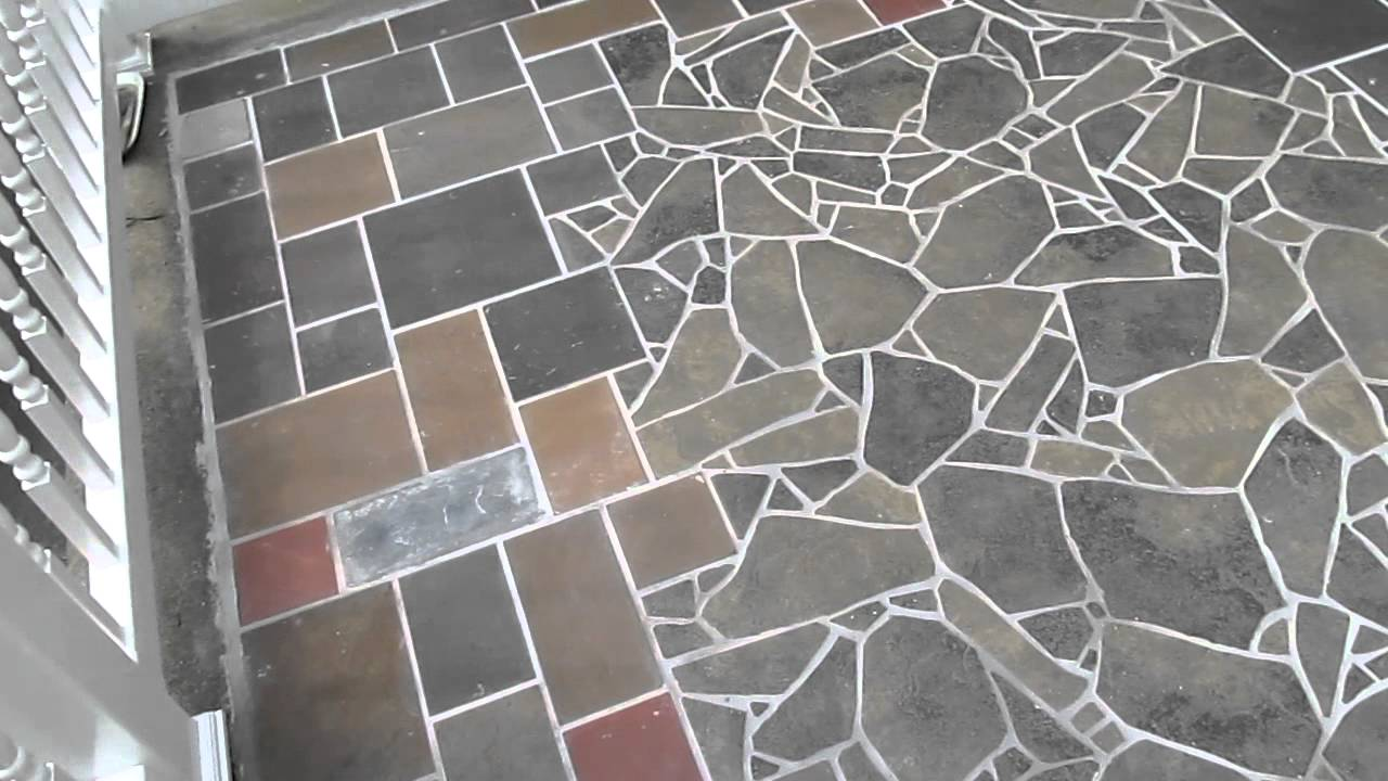 slate & tile mosaic patio in Albany - YouTube
