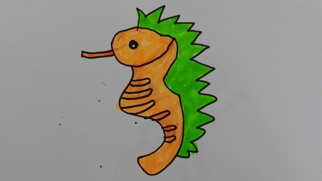 how to draw a seahorse draw a cute seahorse draw a realistic