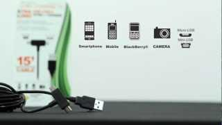 Just Charge It! by Celltronix, Extra Long 15 Foot 2 Way Micro & Mini USB Cable