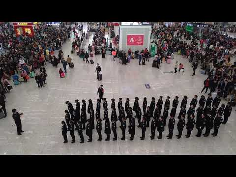 Staff assembly in Shenzhen North railway station, during 2018 Chinese New Year traffic peak