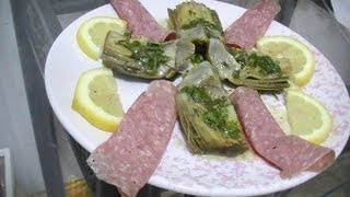 Marinated Artichokes With Salami/arcachofas Adobadas Con Salami