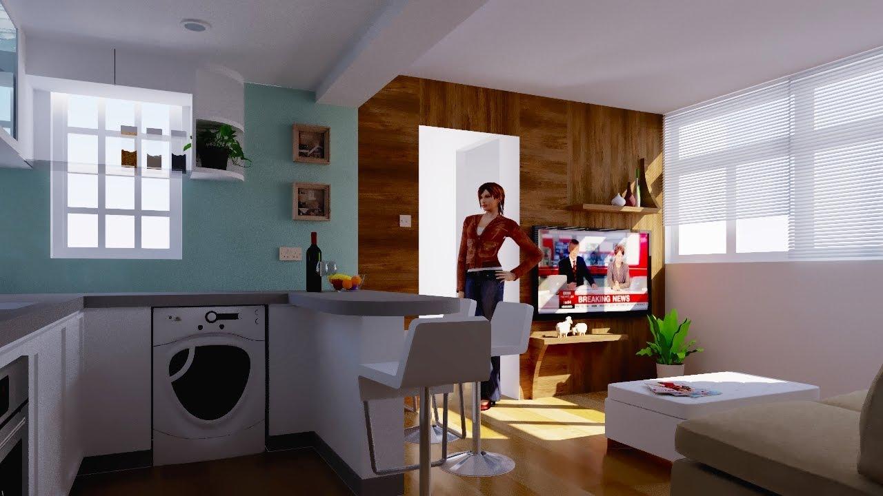 266 Sq. Ft. Kitchen U0026 Living Room Design Part 66
