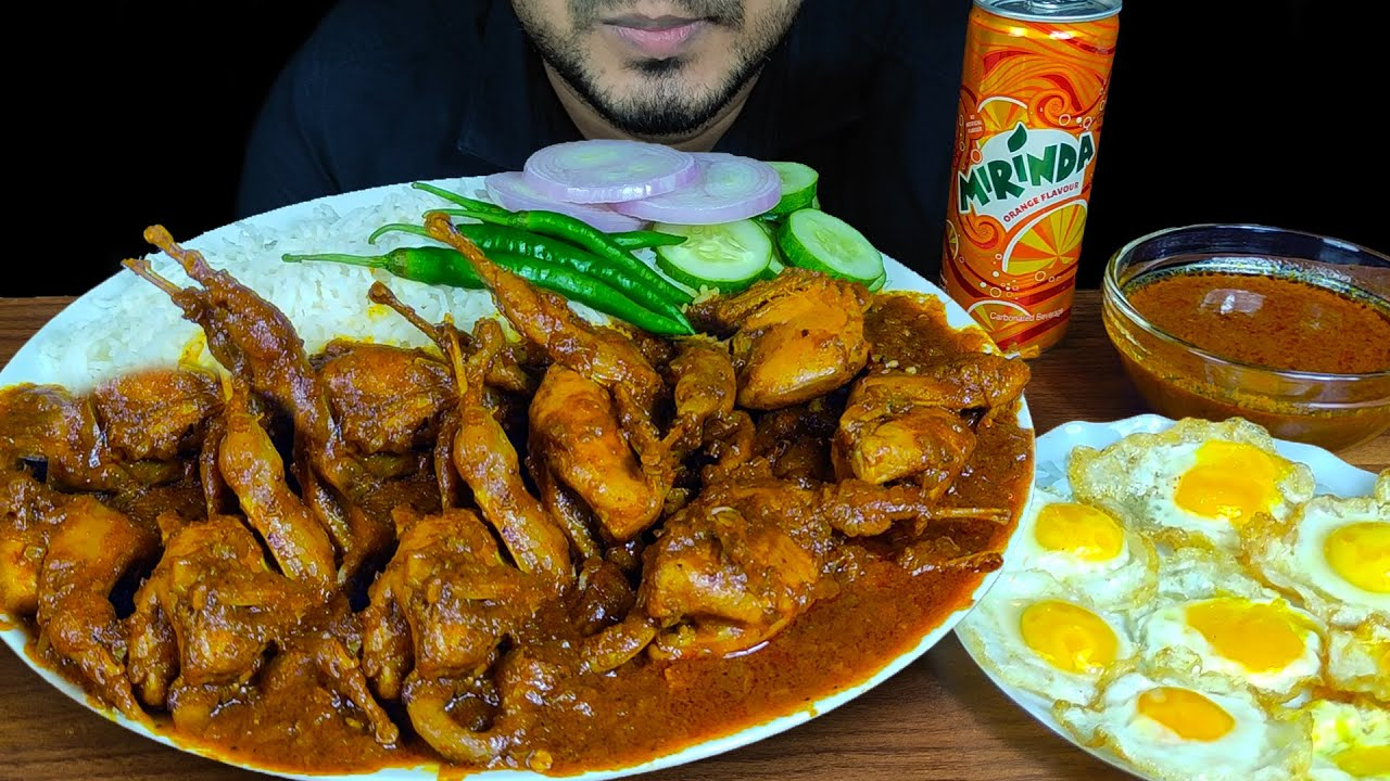 EATING SPICY QUAIL CURRY, FRIED QUAIL EGGS WITH RICE,CHILI,ONION  MUKBANG EATING SHOW  EATING SOUNDS