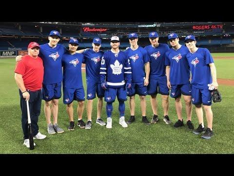 Toronto Maple Leafs batting practice Blue Jays 2017 - Auston Matthews Mitch Marner