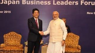 PM Modi & Prime Minister Shinzō Abe at the India - Japan Business Leaders Forum in New Delhi