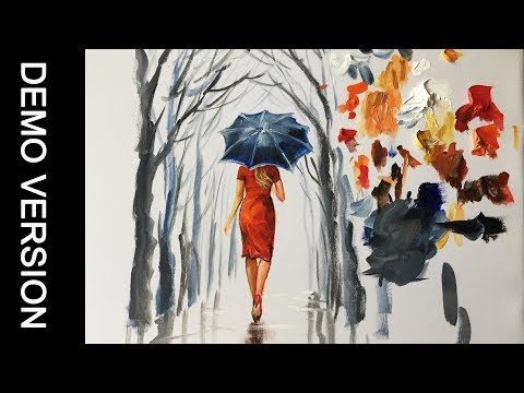 A Lady in red and black umbrella painting - Demo 1