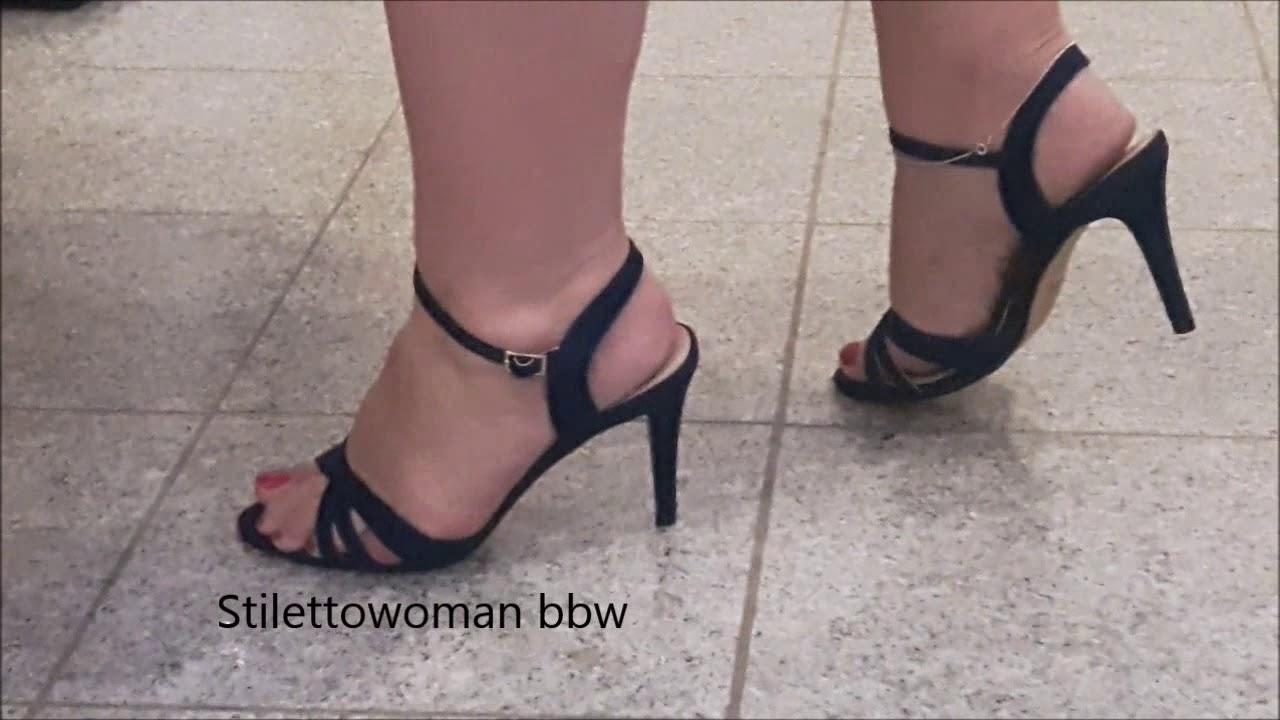 high heel Sandaletten, Stilettowoman bbw