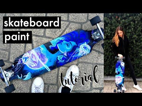 How to Paint a Skateboard with Acryllic Paints | Natasha Rose