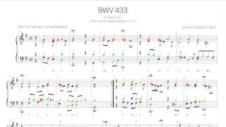 Bach Chorale BWV 433 Harmonic analysis with colored notes -Wer Gott vertraut, hat wohl gebaut-