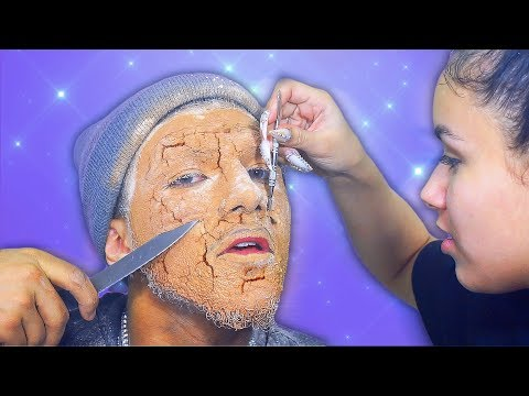 Removing 100 Layers Of Foundation & Powder Off Of My BF! 🤮🤮🤮