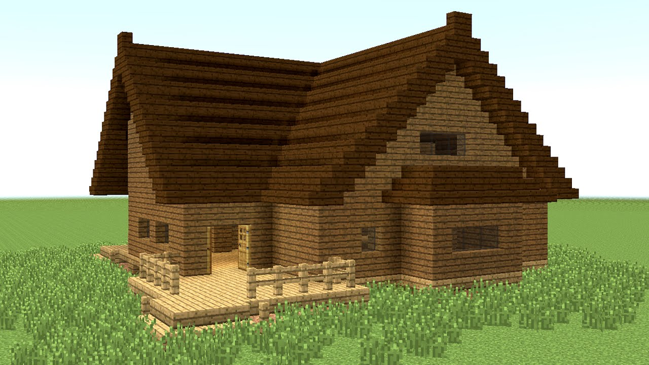Minecraft how to build big wooden house 4 youtube Wooden homes to build