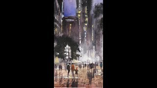"""Advancing with Watercolor: Preserving the White of the Paper """"Faneuil Hall Summer Evening"""""""