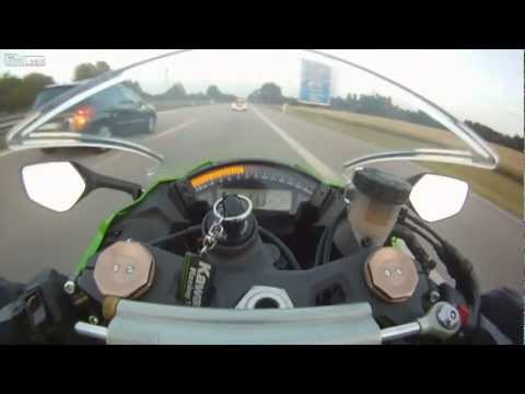 Zx-10 being overtaken by an Audi RS6 at 300KPH Complete Edit