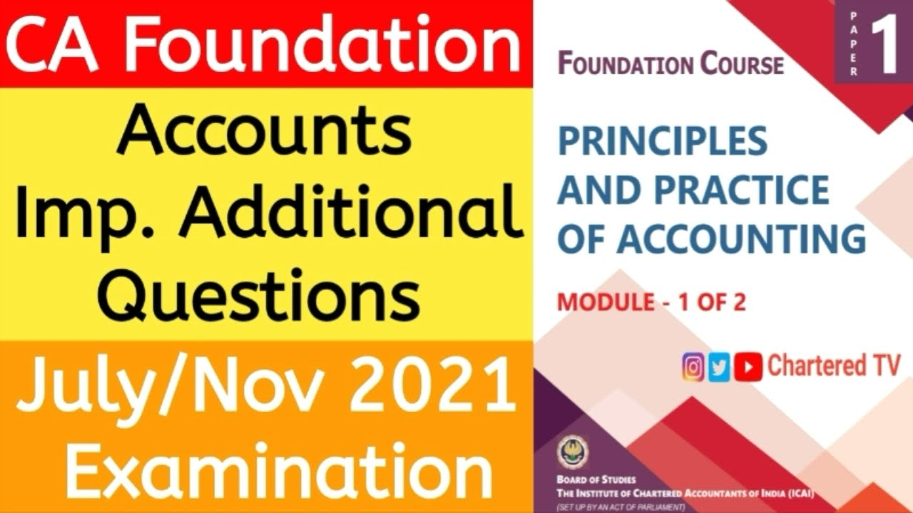 CA Foundation Accounts  Important Questions For July & Nov 2021 Exams   CA Exams July 2021