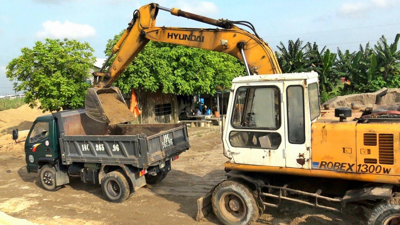 Máy Xúc Hyundai 1300w Làm Việc, Xe Ô Tô Tải Ben Cửu Long TMT Chở Cát | Excavator Truck | TienTube TV