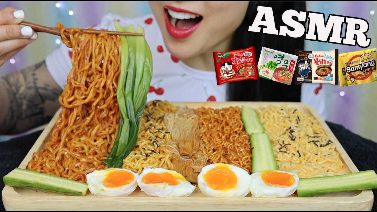 Gdyi6wctunppm Asmr cheesy noodle feast (spicy fire + carnonara + jjajangmyeon) eating sounds no talking. https www youtube com watch v phqf4ukblgi