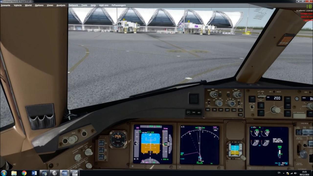[P3D V3 4] Emirates B777-300ER Departure A_A Sceneries Bangkok