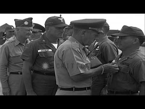 General James F. Collins presents Air Medals and Purple Hearts to American soldie...HD Stock Footage