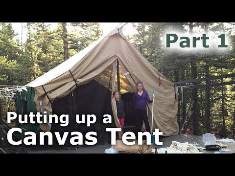 Putting up our canvas tent platform deck tent part 1 for How to make a canvas tent