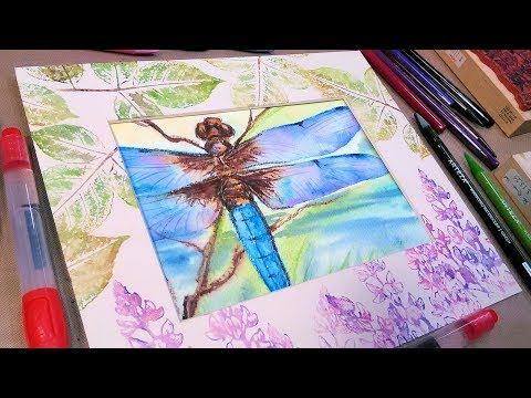 Dragonfly Watercolor Pencil Tutorial with Matching Mat // WC Pencil Tips & Tricks!