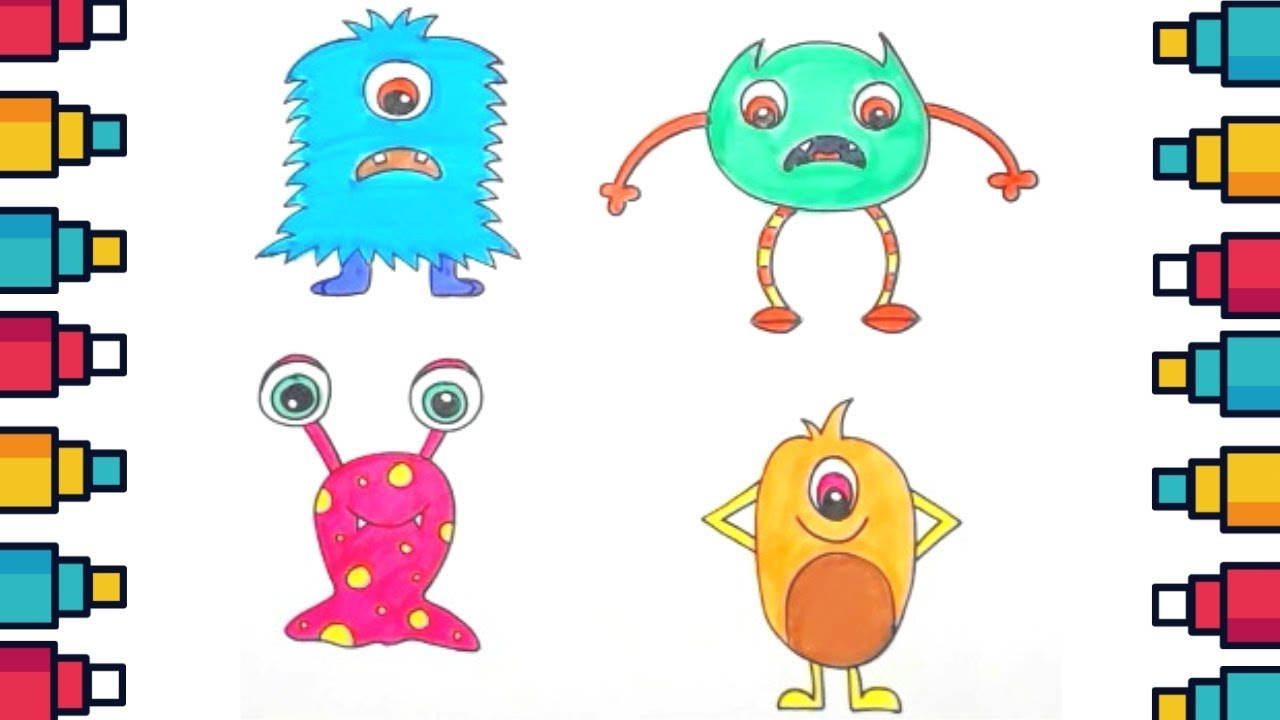How To Draw Cute Cartoon Monsters Step By Step Youtube