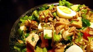 Тёплый салат с курицей, очень вкусный салат
