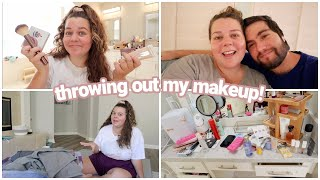 getting rid of my makeup! clean/organize with me!
