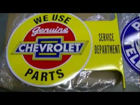Chevrolet Service Department and Publc Telephone Steel Flange Vintage Signs
