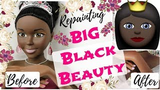 Repainting BIG BLACK BEAUTY BARBIE DOLL / How To Draw Face, Eyes, Lips Speedpaint Realistic Drawing