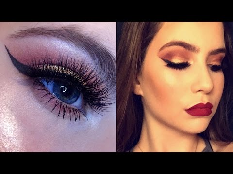Easy Fall/Autumn Makeup Tutorial | Berry and Gold Eyes With Vampy Lips