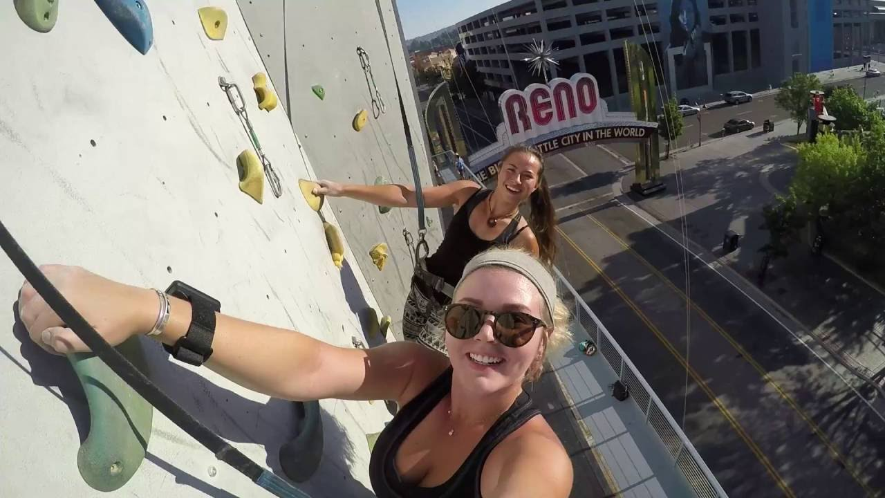 Reno Tahoe Scaling The World S Tallest Climbing Wall Selfie Youtube
