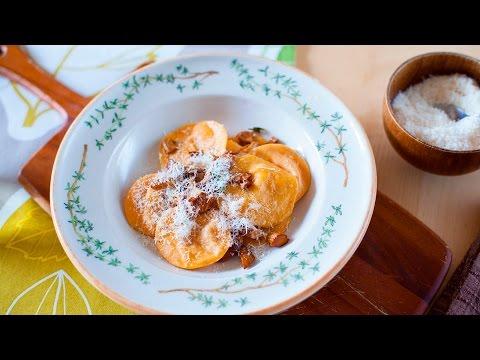 Selbstgemachte Ravioli mit Butternut Kürbis (vegetarisch)