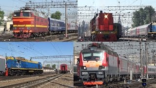 Три поезда ЧС2Т 1000 ТЭМ18ДМ 861 ТЭМ18Д 129