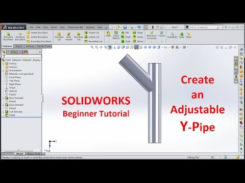 Solidworks Draw Y Pipe Adjustable Youtube