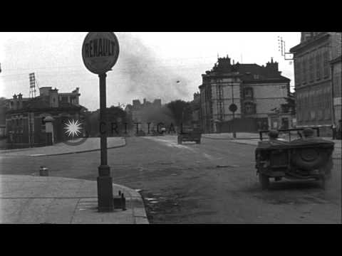 French civilians destroy German street signs in Troyes, France. HD Stock Footage