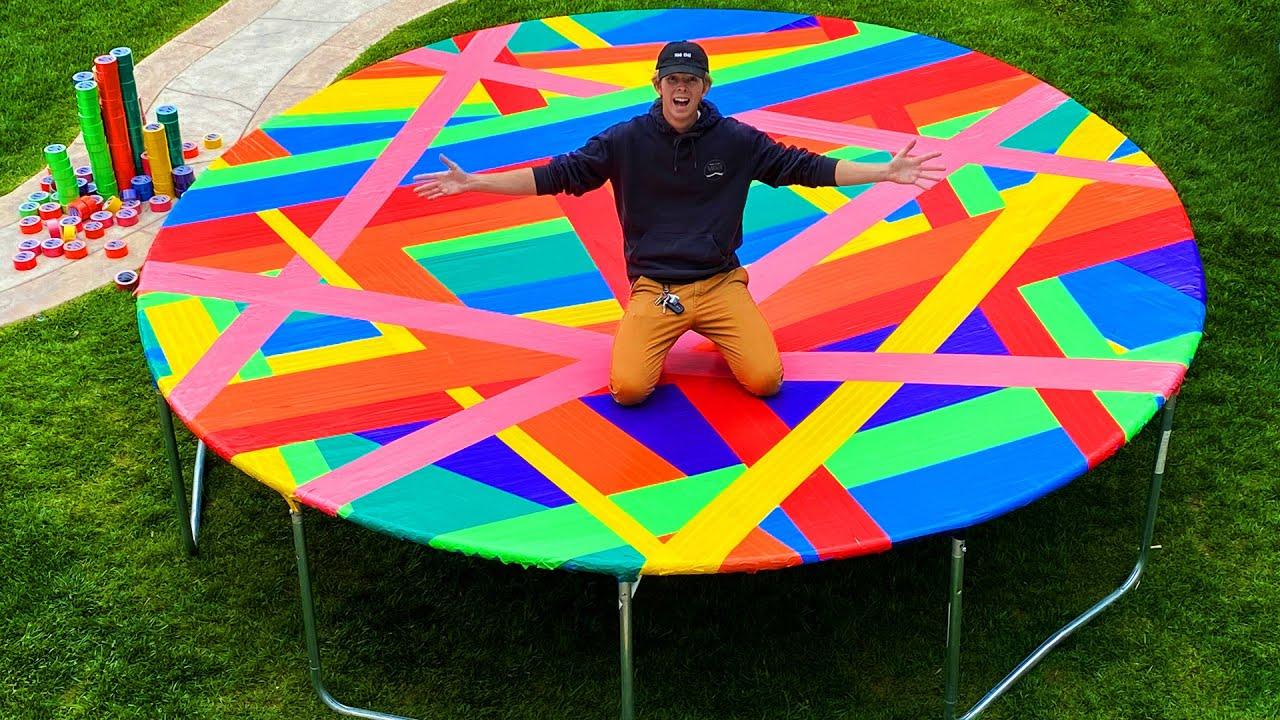 100 Layer Rainbow Duct Tape Trampoline! *VERY SATISFYING*