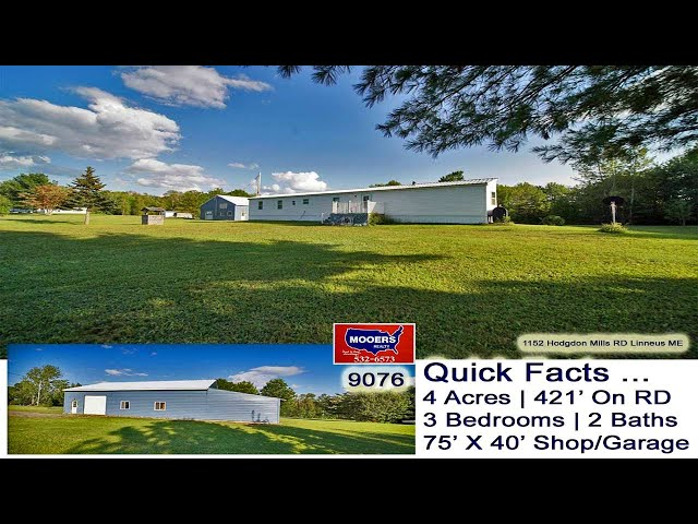Land, Maine Home, Shop Garage, 4 Acres Video | Maine Real Estate MOOERS REALTY 9076