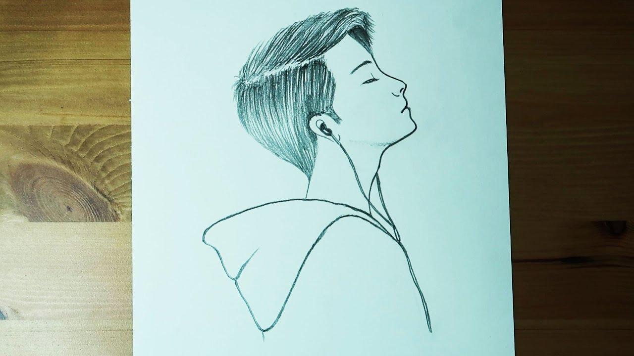 Müzik Dinleyen Erkek Çizimi / Yeni Başlayanlar İçin Kolay Çizimler