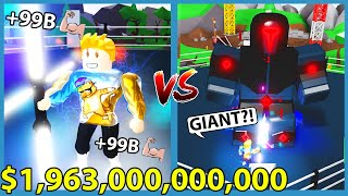 Buying The New $1,963,000,000,000 Light Saber and Defeat Giant Boss In Roblox Saber Simulator!!