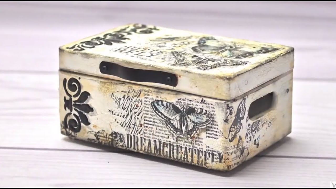 Mixed media box tutorial diy by catherine youtube for Wooden box tutorial