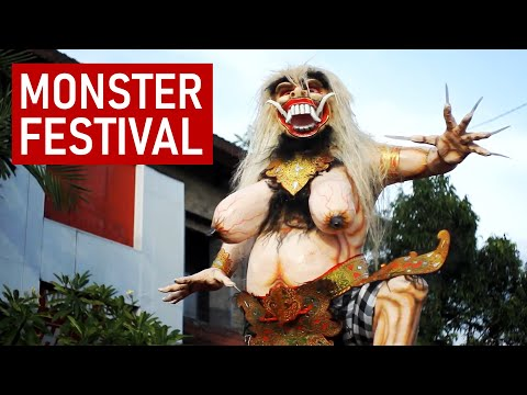Ogoh-ogoh parade, on the eve of Nyepi day in Bali, Indonesia / full HD