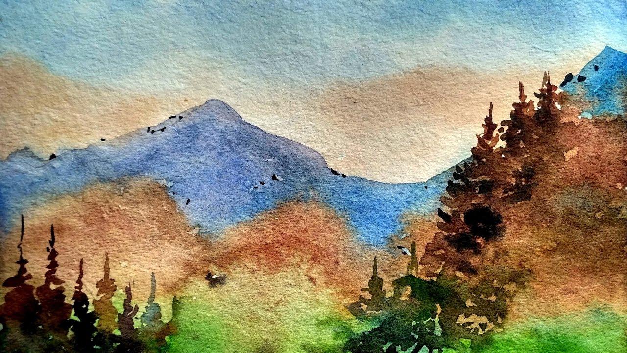 paint mountains landscape