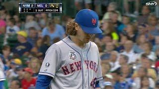 NYM@MIL: deGrom pitches 6 1/3 scoreless frames