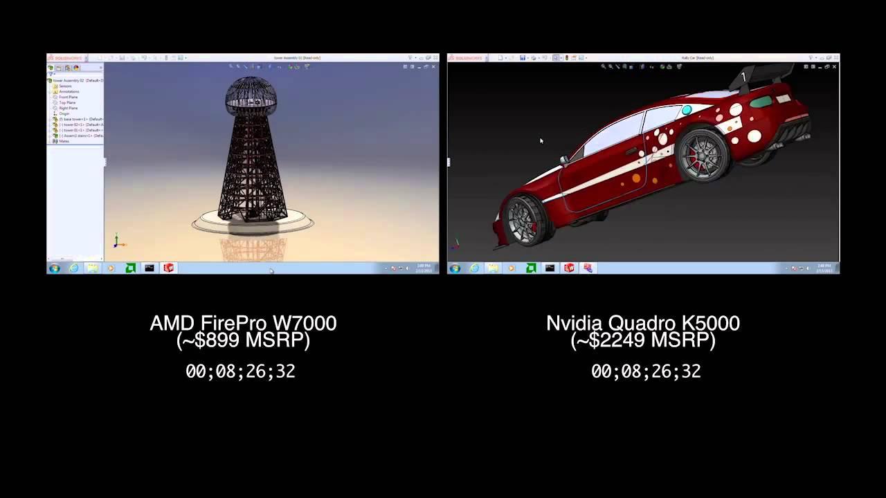 AMD FirePro W7000 vs Nvidia Quadro K5000 Rendering Performance in  SolidWorks 2013